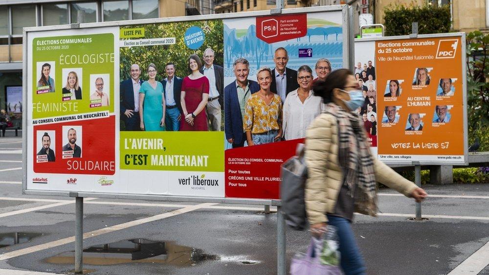 Des affiches de campagne en ville de Neuchâtel.