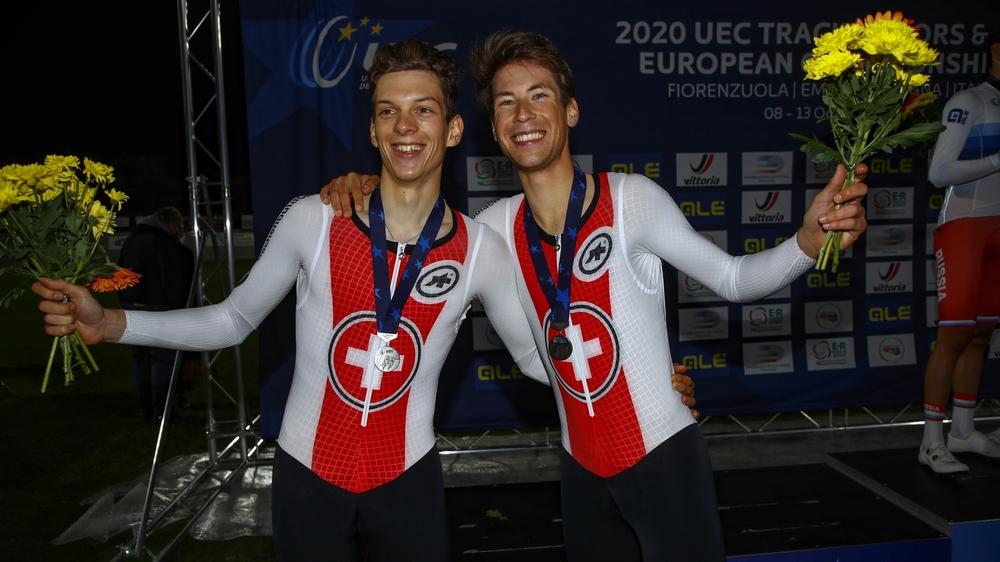 Valère Thiébaud et Robin Froidevaux lors de la Madison des Européens 2020 en Italie, bettini photo