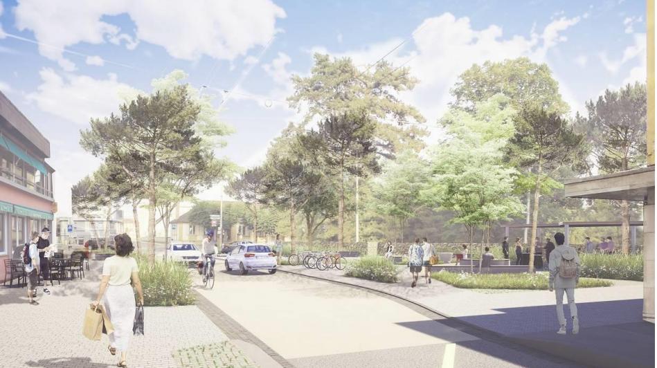 Image de synthèse de la future place du Clos-de-Serrières.