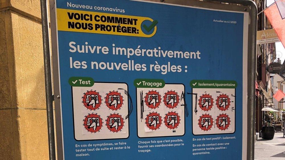 """L'affiche coronavirus """"modifiée"""" avec le logo de skaters nyonnais."""