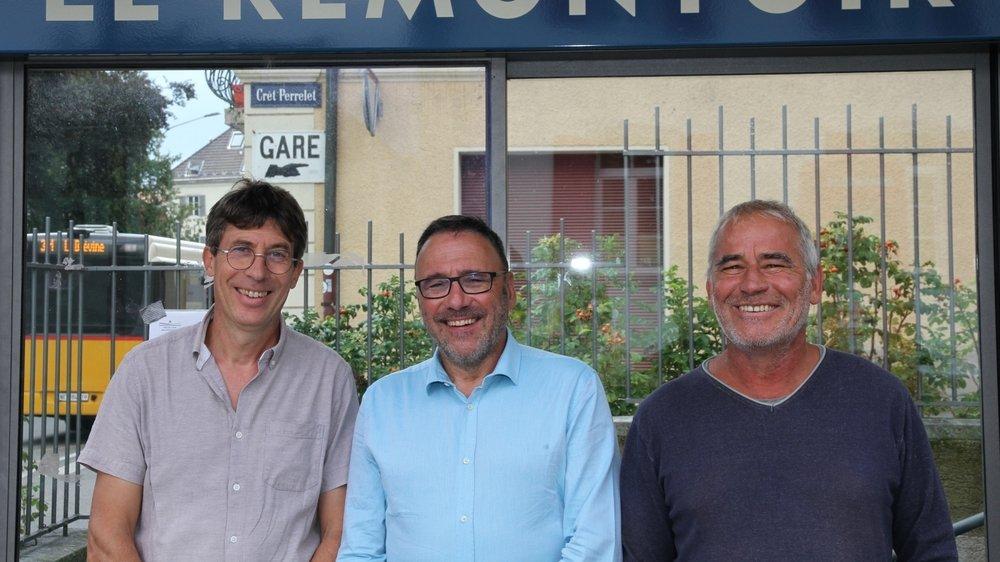Philippe Rouault, Miguel Perez et Richard Gigon espèrent voir la cote des Verts grimper au Locle et aux Brenets.