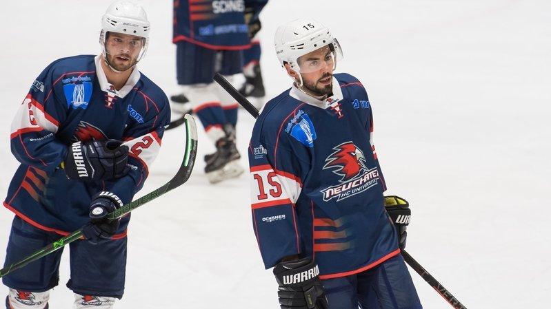 Robin Vuilleumier et Samuel Grezet, joueurs du HC Université Neuchâtel, ne joueront pas ce week-end à Delémont.