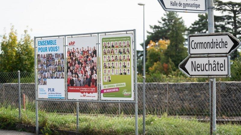 Elections communales: bataille d'affiches à Corcelles-Cormondrèche
