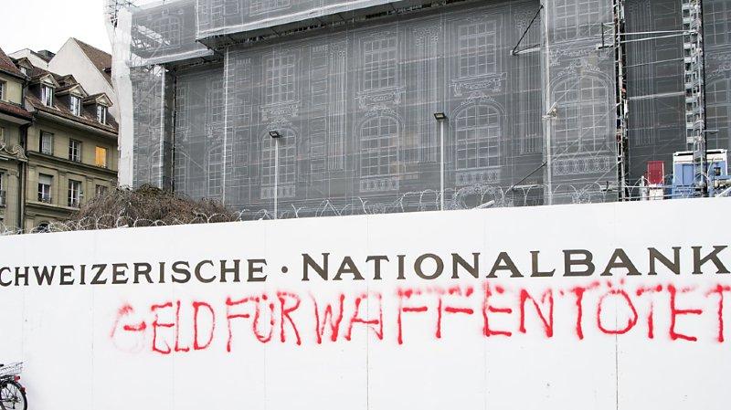 L'initiative contre le financement des producteurs de matériel de guerre prend notamment pour cible la Banque nationale suisse et le financement de certaines entreprises (archives).