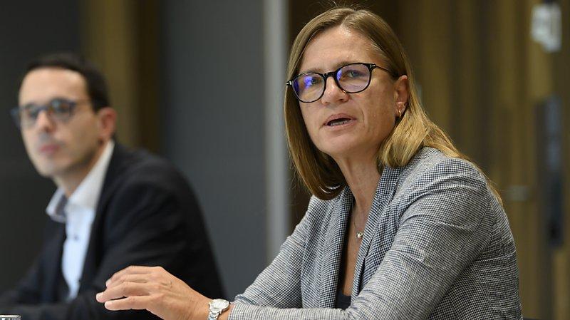 Virginie Masserey, responsable de la section contrôle de l'infection de l'OFSP s'est exprimée jeudi devant la presse à Berne sur la nouvelle phase de la campagne lancée contre la pandémie de coronavirus.
