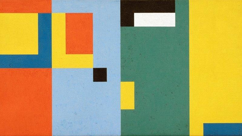 """Camille Graeser, """"Progression en quatre espaces"""", 1952, dispersion de résine sur toile, 40x80 cm."""