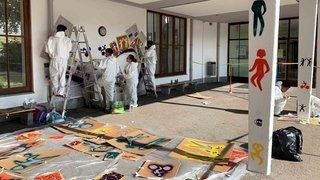 Une fresque façon Poya réalisée au collège des Forges