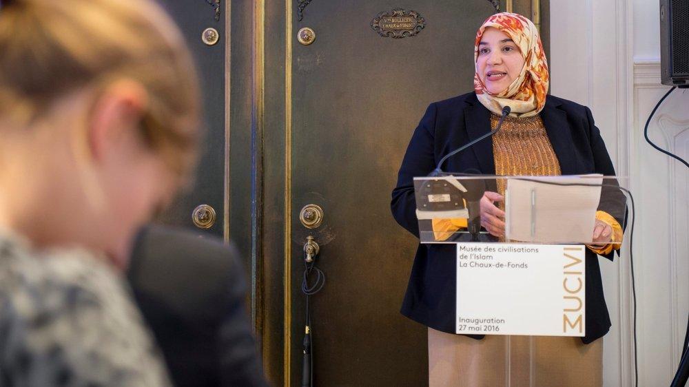 Nadia Karmous (ici en 2016 à l'inauguration du musée des civilisations de l'Islam à La Chaux-de-Fonds), disait en 2002 craindre des réactions xénophobes à la suite de l'affaire Hani Ramadan.