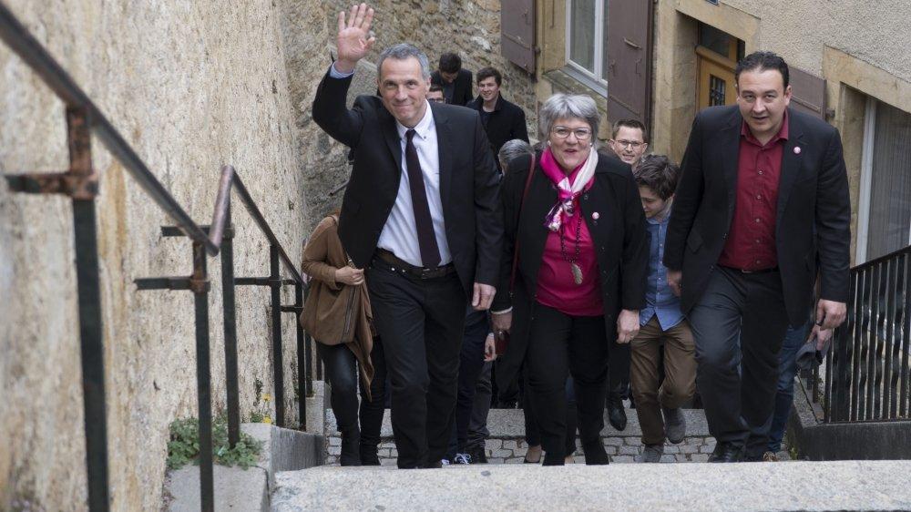 Laurent Kurth (de gauche à droite), Monika Maire-Hefti et Jean-Nat Karakash lors de leur réélection en 2017.