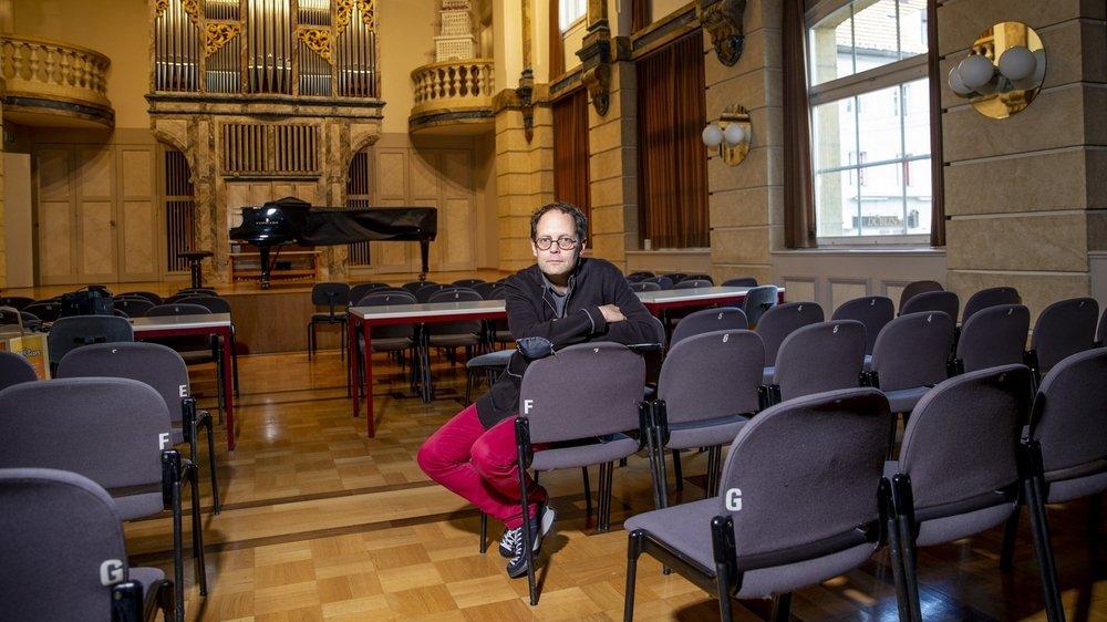François Cattin va transformer la salle Faller du conservatoire en chapelle dévolue à la musique.