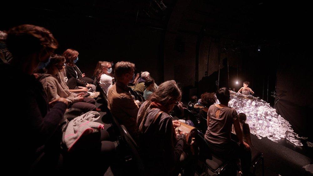 """Une quarantaine de personnes sont venues au théâtre du Pommier, samedi, pour assister à """"Niyar, un conte de papier""""."""