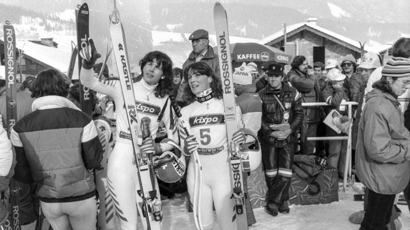 Doris de Agostini (à gauche) ici avec Maria Walliser à Bormio en 1985.
