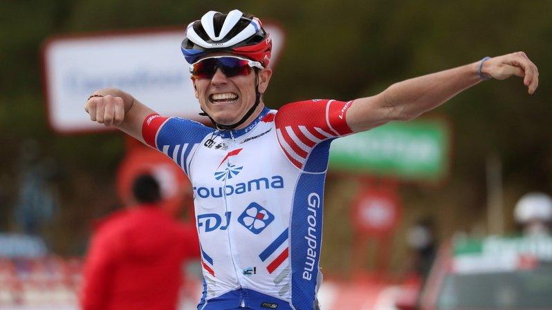 La joie se lisait sur le visage de David Gaudu de l'équipe Groupama-FDJ à son arrivée victorieuse au terme de la 11e étape de la Vuelta.