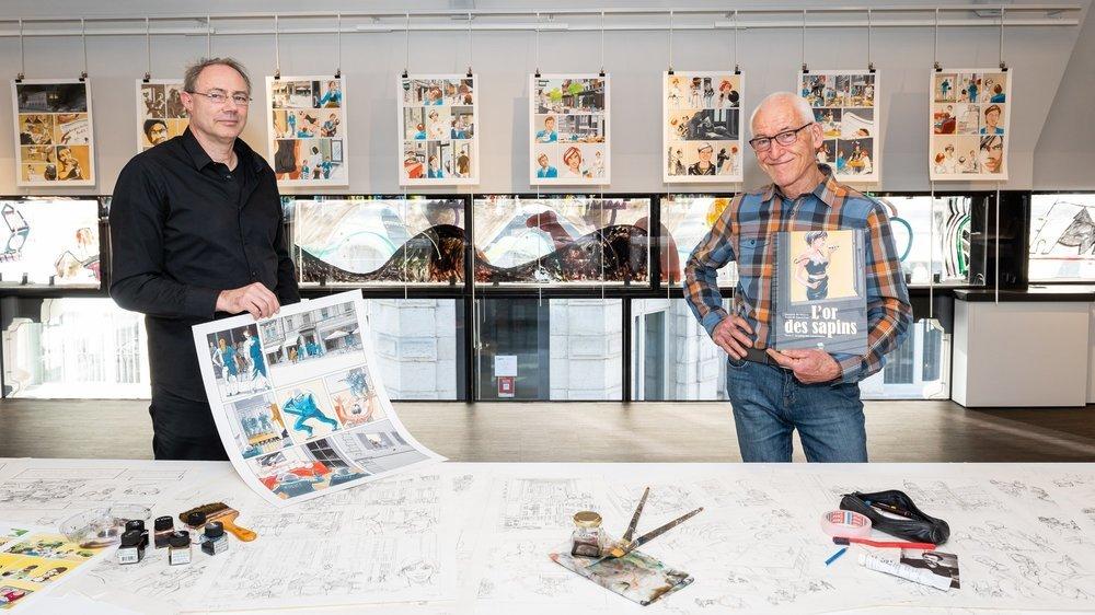 """Après un premier volet situé au 18e siècle, le dessinateur Maoro (à gauche) et le scénariste Raoul Cop ramènent les lecteurs dans le présent avec le tome II de """"L'or des sapins""""."""