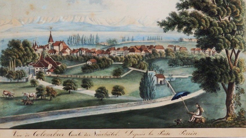Vue de Colombier (auteur anonyme, non daté) depuis la prise Perrin.