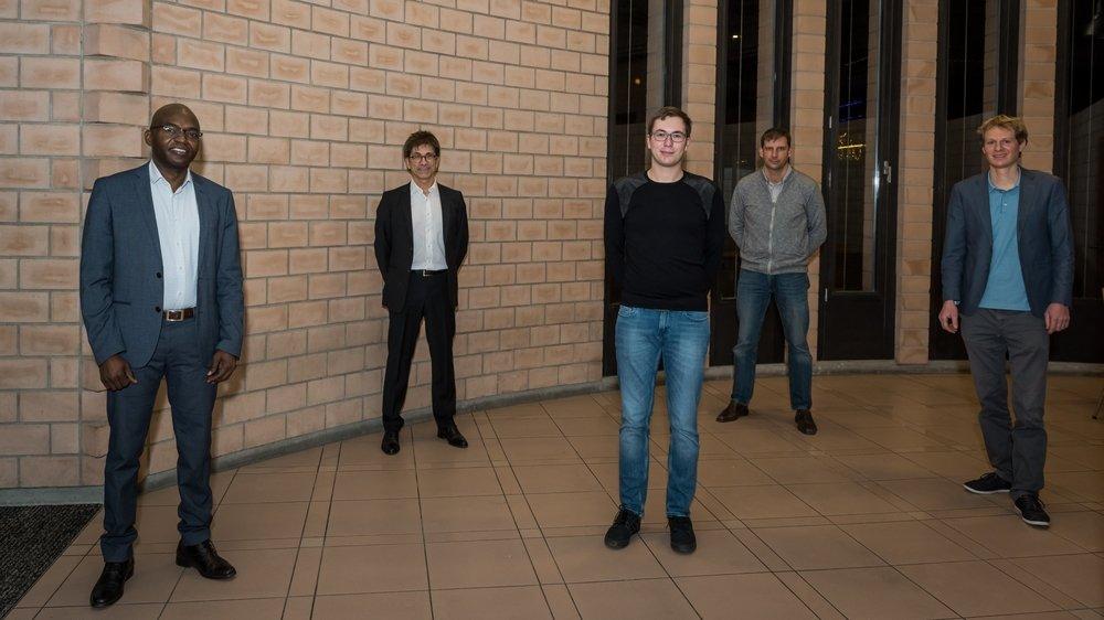 Hassan Assumani, François Del Rio, Maxime Rognon, Thierry Pittet et Tom Egger (de g. à dr.) composent le nouveau Conseil communal de La Grande Béroche.
