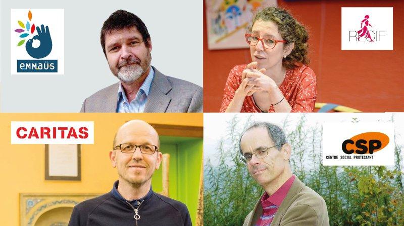 «ArcInfo» donne la parole à Caritas, Emmaüs, le Centre social protestant et Recif