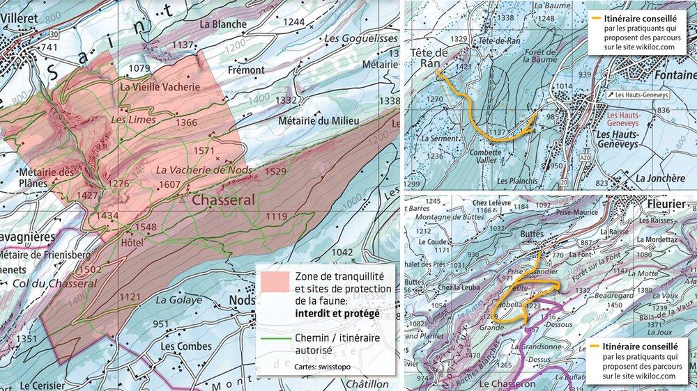 A Chasseral, la zone rouge est protégée. Seuls les chemins en vert peuvent être empruntés. Au Chasseron et à Tête-de-Ran, en revanche, les itinéraires sont légion. A la recherche d'une idée? Suivez la ligne orange.