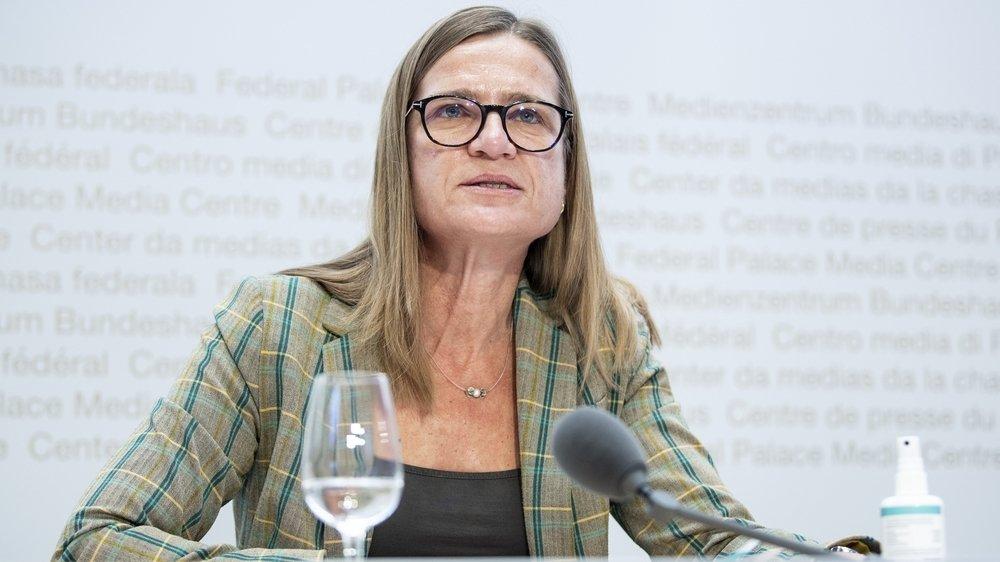 Virginie Masserey, cheffe de la section Contrôle de l'infection et programme de vaccination de l'OFSP, répond aux questions lors d'un point presse le 22 décembre à Berne.