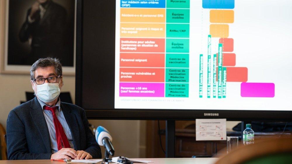 Le médecin cantonal Claude-François Robert lors de la présentation de la stratégie neuchâteloise de vaccination contre le Covid-19 ce mardi.
