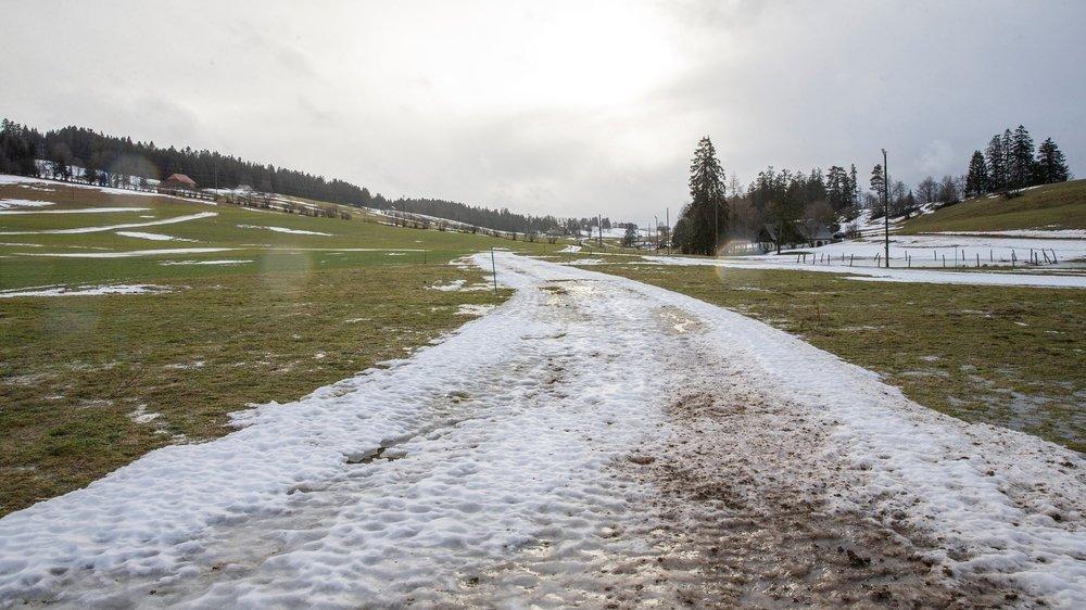 Ce qu'il reste de la piste de ski de fond aux Foulets, sur les hauts de La Chaux-de-Fonds.