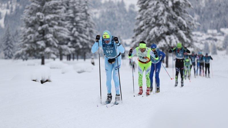 Yann Engel (597) à l'occasion de la troisième épreuve de la Visma Ski Classics à à Marcialonga, dans le Val di Fiemme italien.
