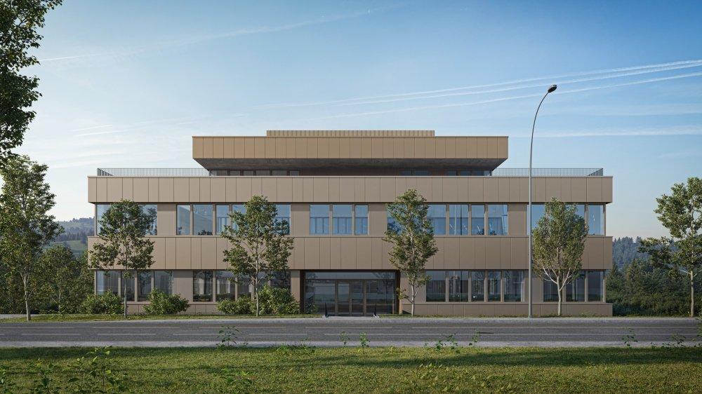 Vue de synthèse du futur bâtiment dont les façades produiront de l'énergie solaire.