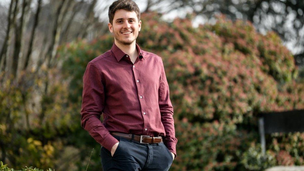 Romain Dubois, 24 ans, a été élu président du parti socialiste neuchâtelois en janvier 2021.
