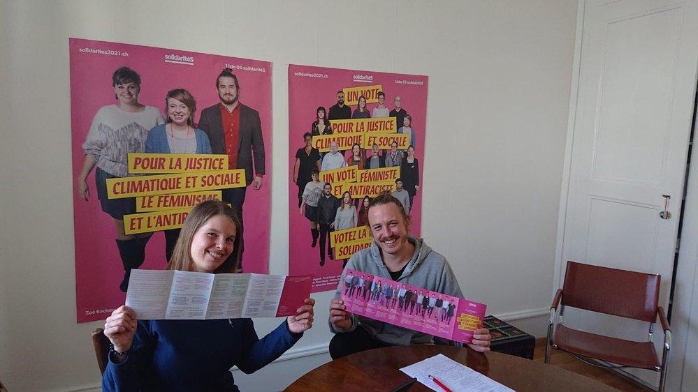 Julia Huguenin-Dumittan et François Chédel, deux des candidats de Solidarités au Grand Conseil.