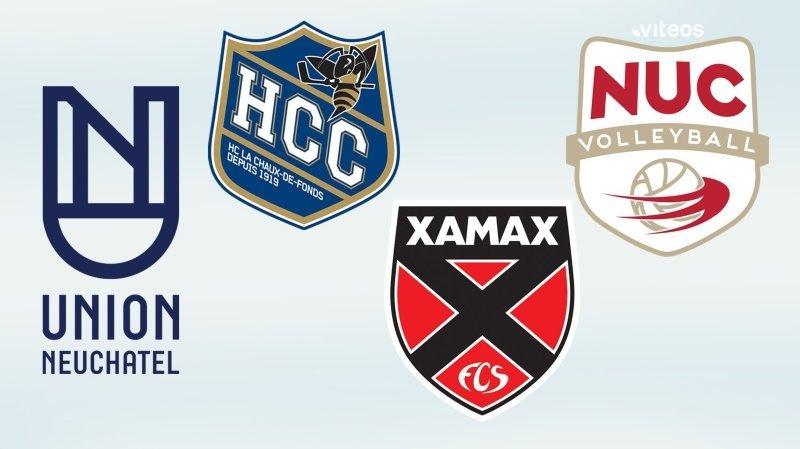 Quel est le montant des aides reçues par Xamax, le HCC, le NUC et Union Neuchâtel?