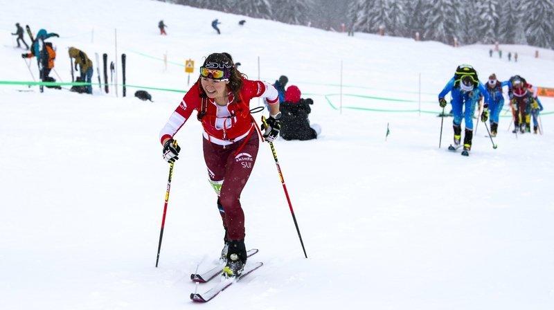 Marianne Fatton en plein effort sur les pistes italiennes.