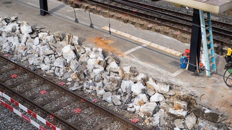 Démolition d'un quai de la gare de Neuchâtel