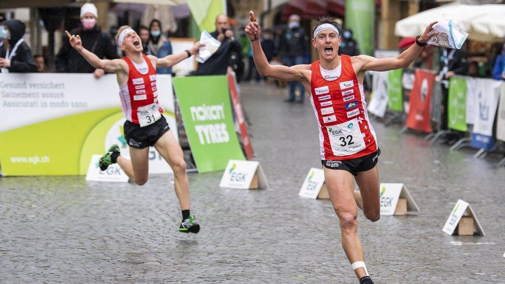 Matthias Kyburz (droite) et Joey Hadorn ont signé un doublé ce samedi à Neuchâtel.