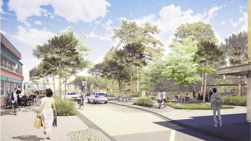 Une image virtuelle du projet de réaménagement. A droite, la nouvelle place publique prévue.