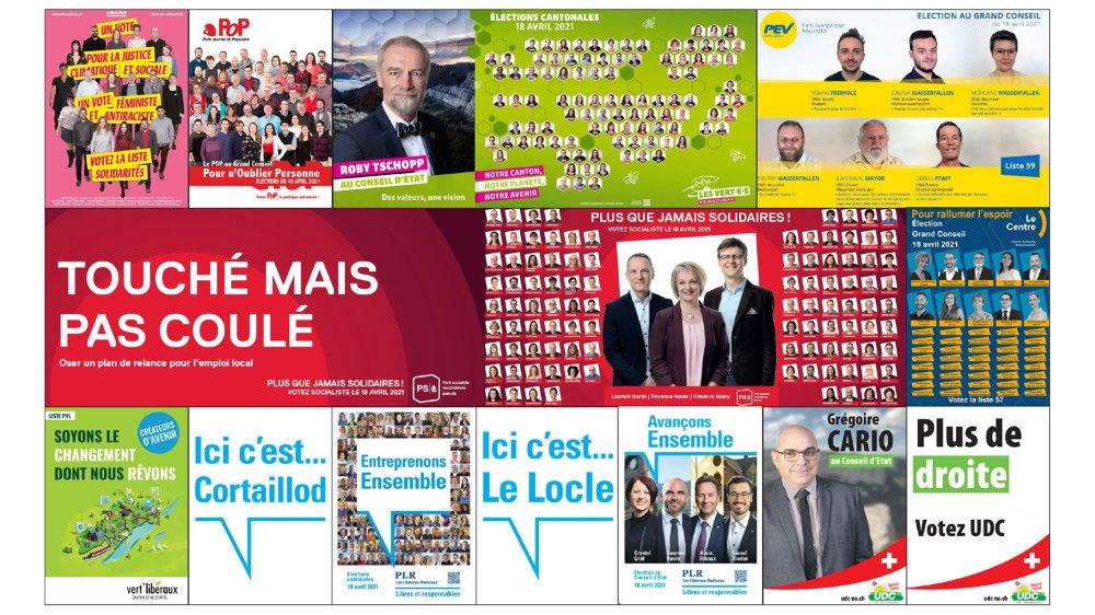 Une sélection d'affiches des partis politiques neuchâtelois pour les prochaines élections cantonales. Le visuel du PEV n'existe que sous forme de tract.