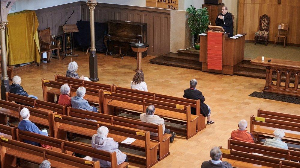 """Un culte """"version Covid"""" au temple Farel, à La Chaux-de-Fonds."""