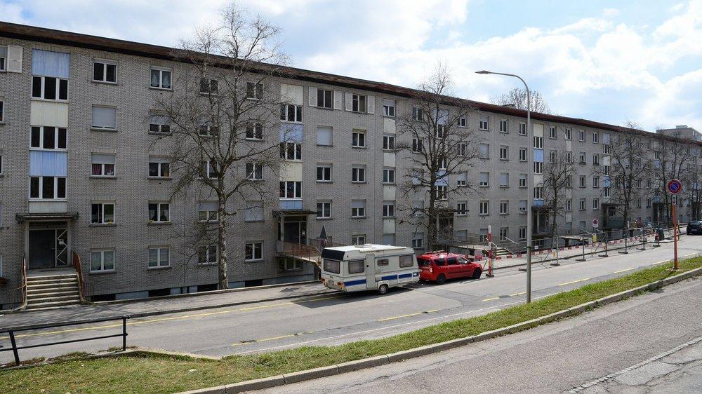La barre d'immeubles de Bois-Noir qui doit être évacuée, à La Chaux-de-Fonds.