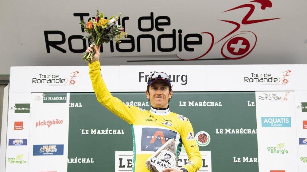 Geraint Thomas a retrouvé le sourire sur le podium à Fribourg.