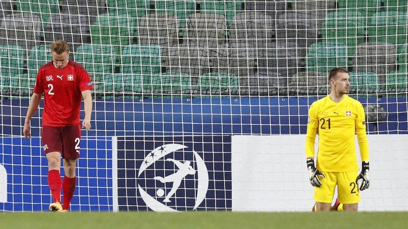 Anthony Racioppi et Jasper Van der Werff désespèrent après le troisième but encaissé.