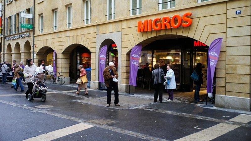 Les employés et le syndicat ont notamment manifesté devant la Migros du centre-ville, à Neuchâtel (image d'illustration)