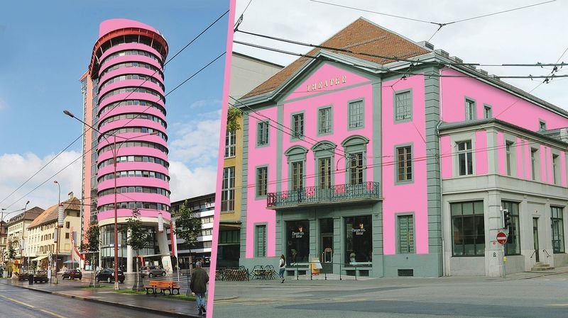 La Chaux-de-Fonds: des bâtiments du Pod repeints en rose? Poisson d'avril!