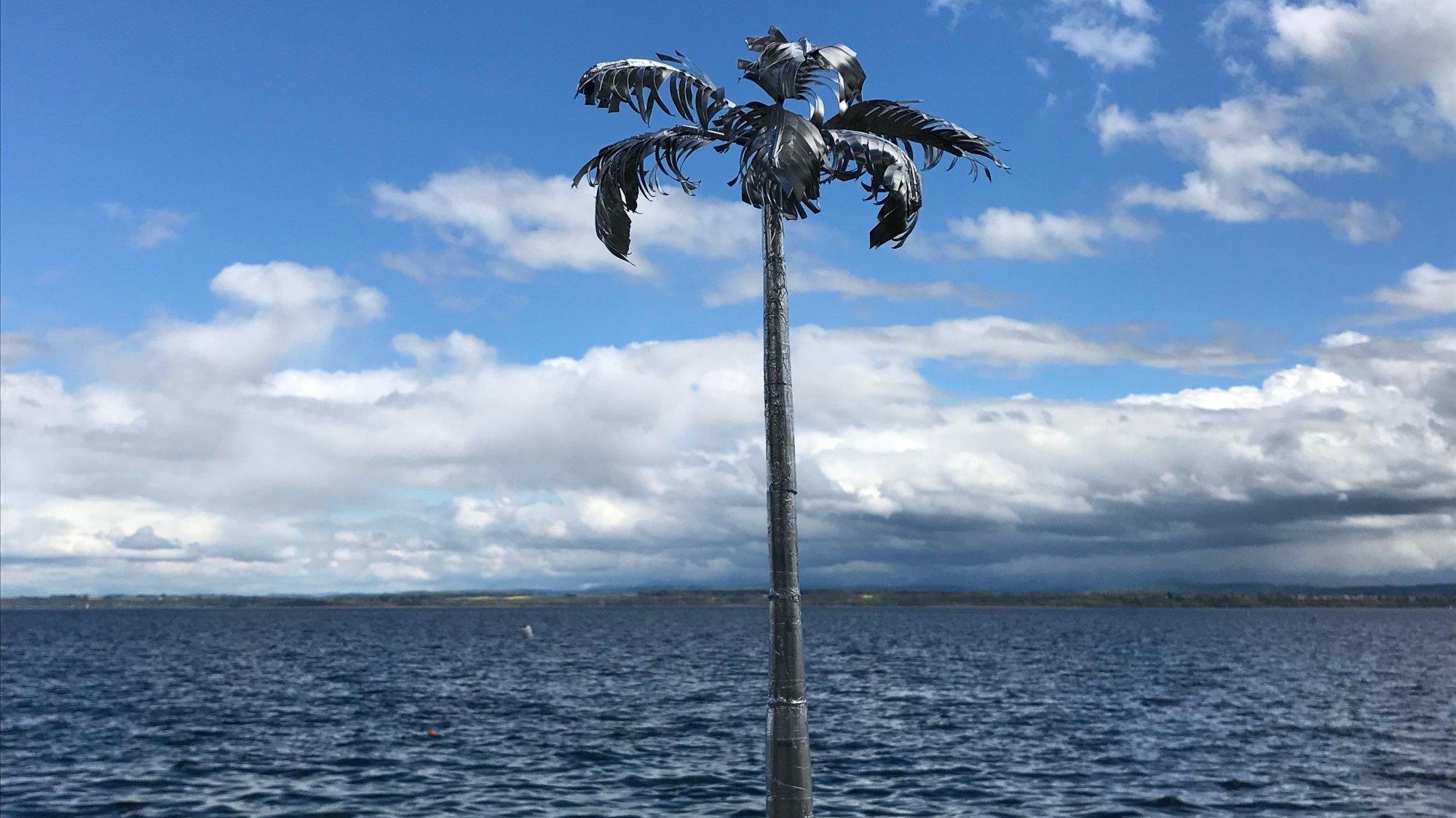 Nouveau vent contraire sur la sculpture en forme de palmier à Gorgier
