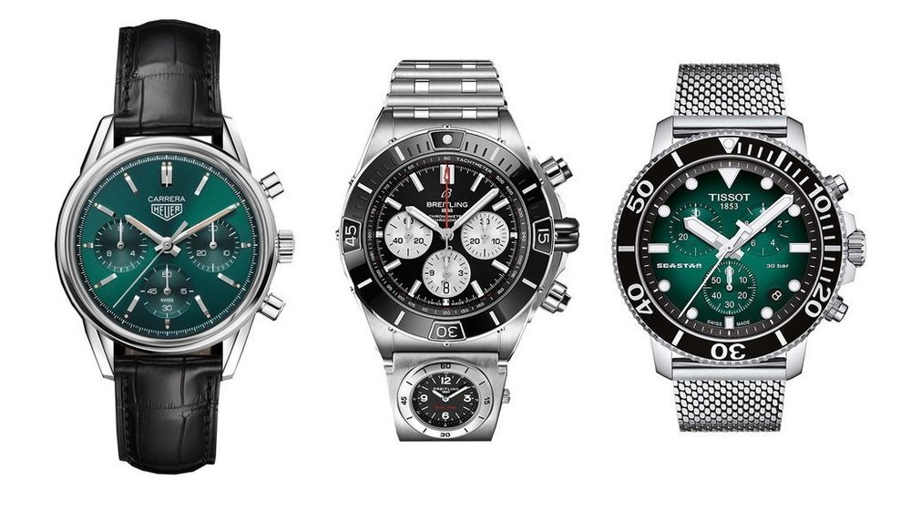 La Carrera Green de TAG Heuer, le Super Chronomat BO1 de Breitling et la Seastar 1000 Quartz Chrono Aquatic Elegance de Tissot.