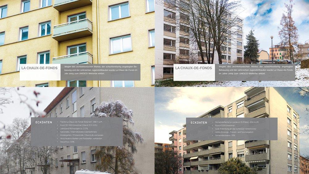 Les plaquettes de présentation de Daniel B. montraient les immeubles neuchâtelois sous leur plus bel aspect.