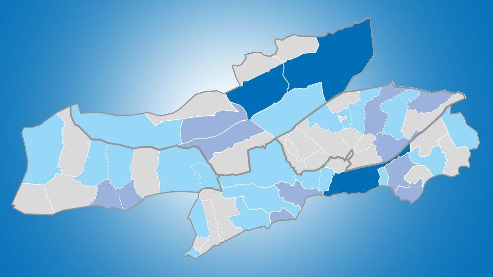 Certaines communes ou localités ne comptent aucun député au Grand Conseil neuchâtelois.