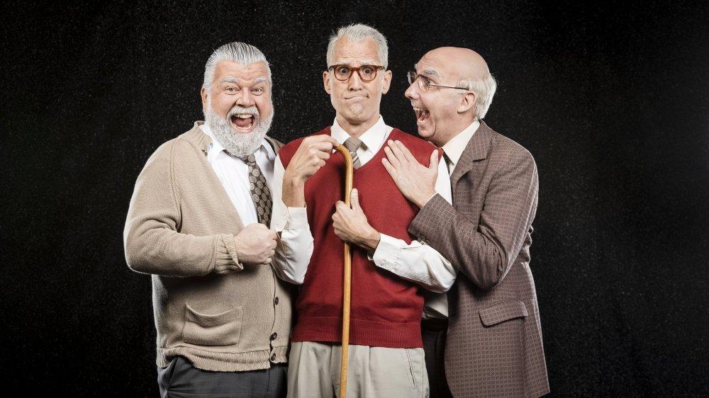 """Les Peutch: (de g. à d.) Ambroise (Christophe Bugnon), Maurice (Noël Antonini) et Fernand (Carlos Henriquez) dans leur nouveau spectacle """"Vivants""""."""