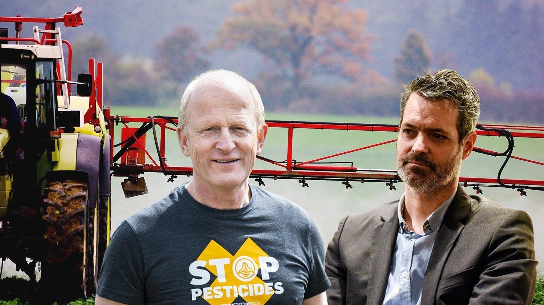 Le viticulteur Jean-Denis Perrochet (à gauche) et le directeur de la Chambre neuchâteloise d'agriculture et de viticulture Yann Huguelit ont des points de vue différents sur les initiatives contre les pesticides de synthèse.