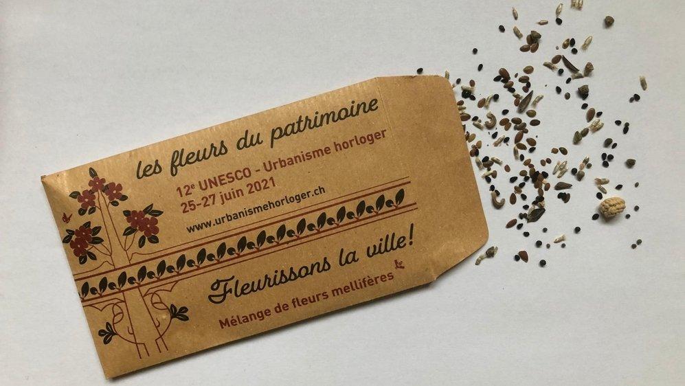 Un des paquets de graines envoyés à 27 000 habitants de La Chaux-de-Fonds et du Locle.