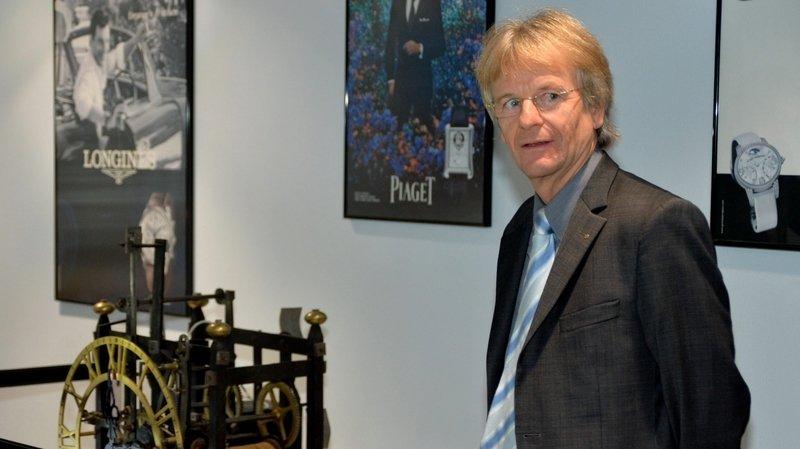 Jean-Daniel Pasche lors de l'inauguration d'une exposition au Locle en 2013.