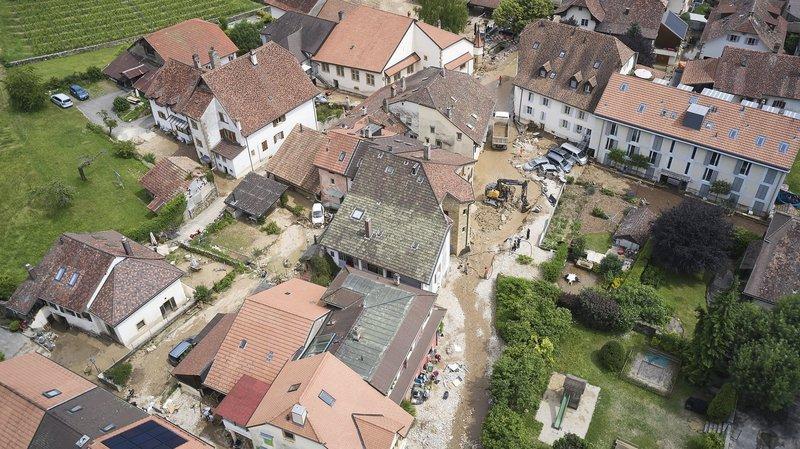 Inondations à Cressier, le jour d'après